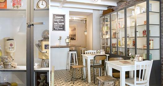 Winkelinrichting_restaurant_apothekerskast_oldbasics_vitrinekast_tafel_stoel_brocante