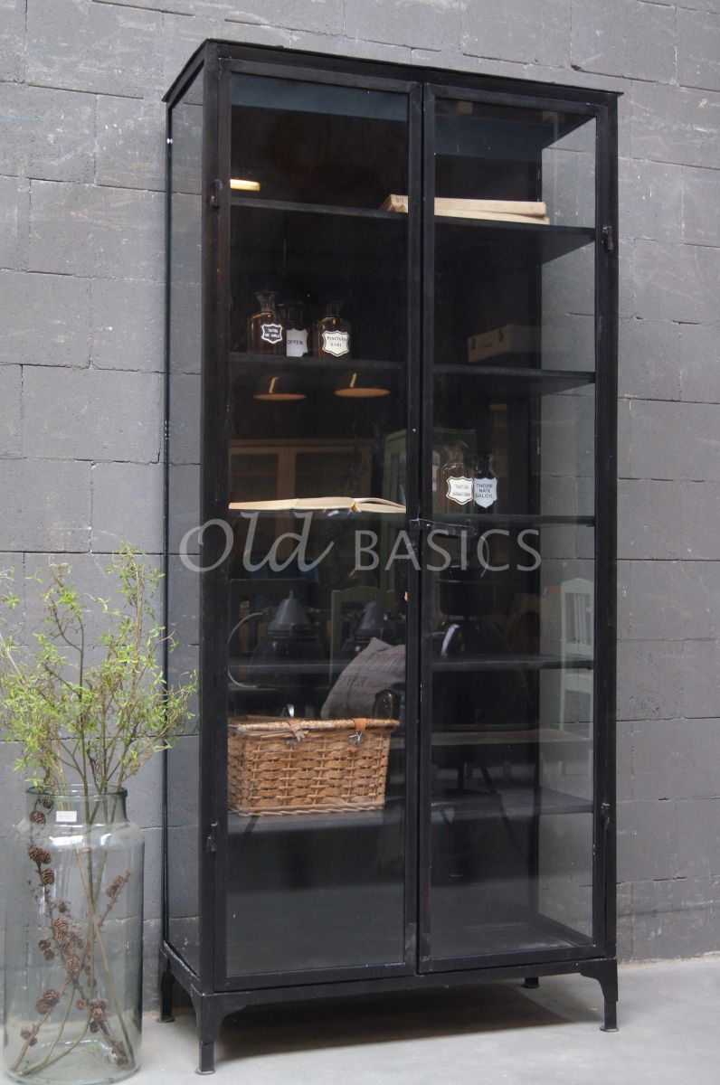 Apothekerskast ivana noir 1 1504 004 old basics for Decoratie industrieel