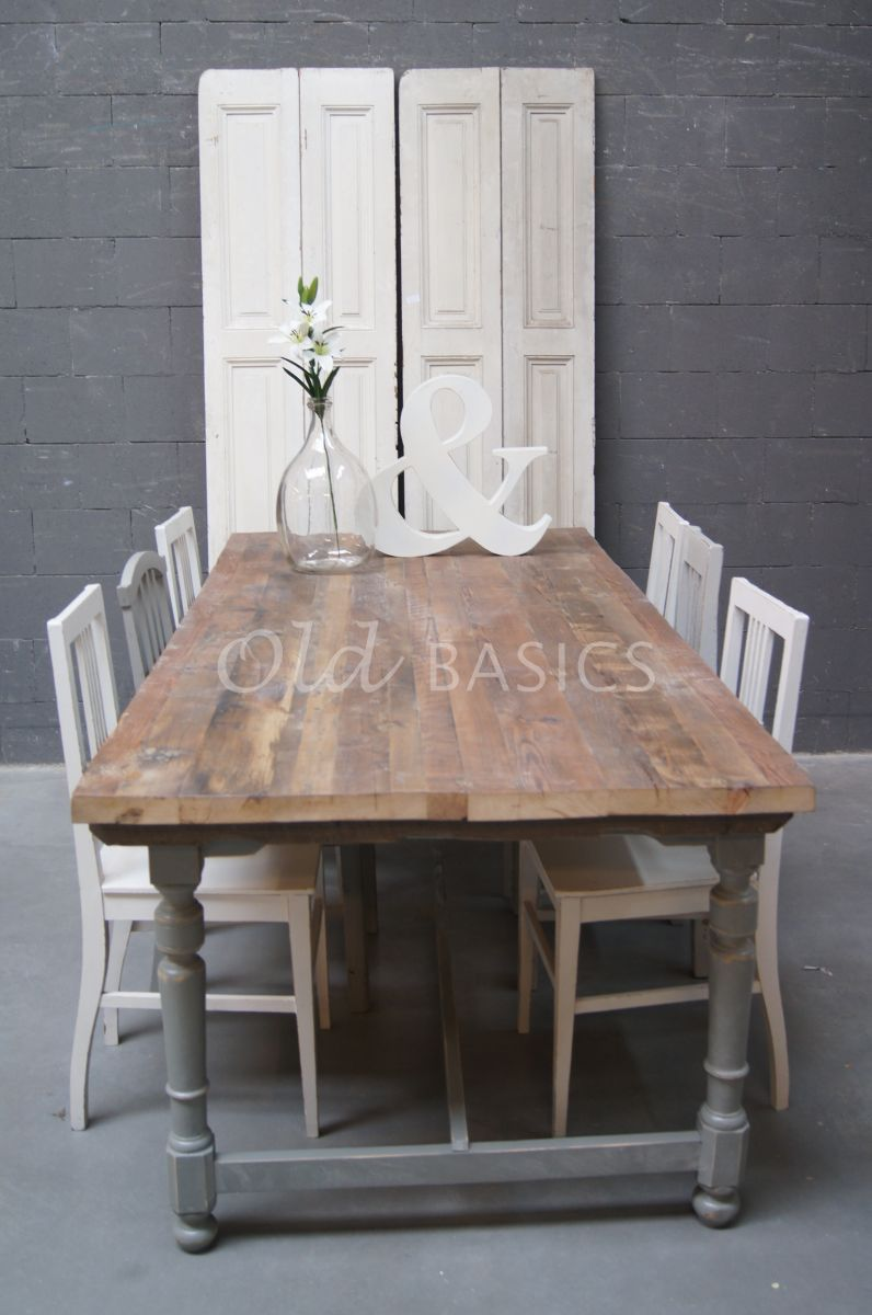Eettafel rustique 2 1504 010 old basics - Balken grijs geschilderd ...