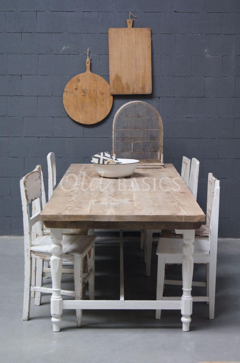 Eettafel Rustique, wit, materiaal hout