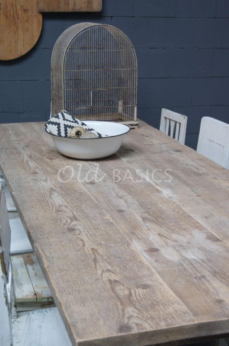 Detail van Eettafel Rustique, wit, materiaal hout
