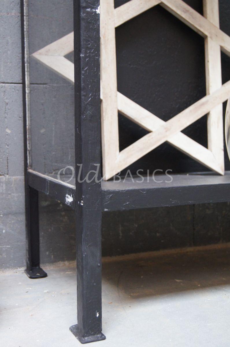 Detail van Industriële kast, zwart, materiaal staal