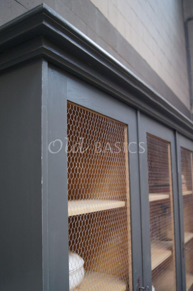 Vitrinekast rustique 1 1506 081 old basics - Balken grijs geschilderd ...