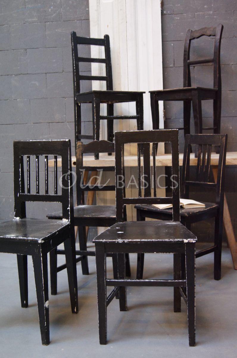 Houten stoel, zwart, materiaal hout