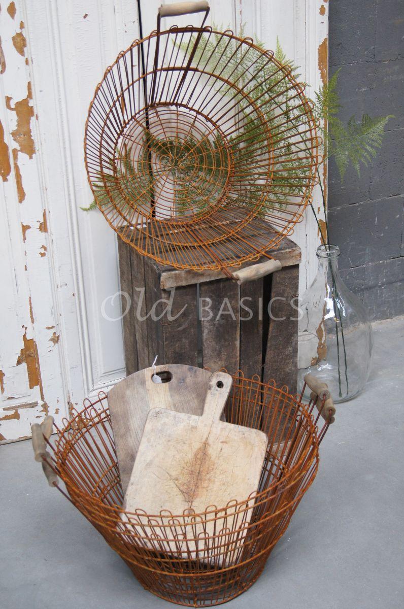 Detail van Draadmand, roest, materiaal staal