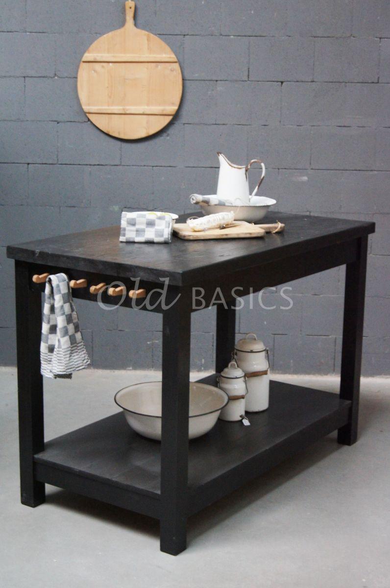 Keukentafel, zwart, materiaal hout