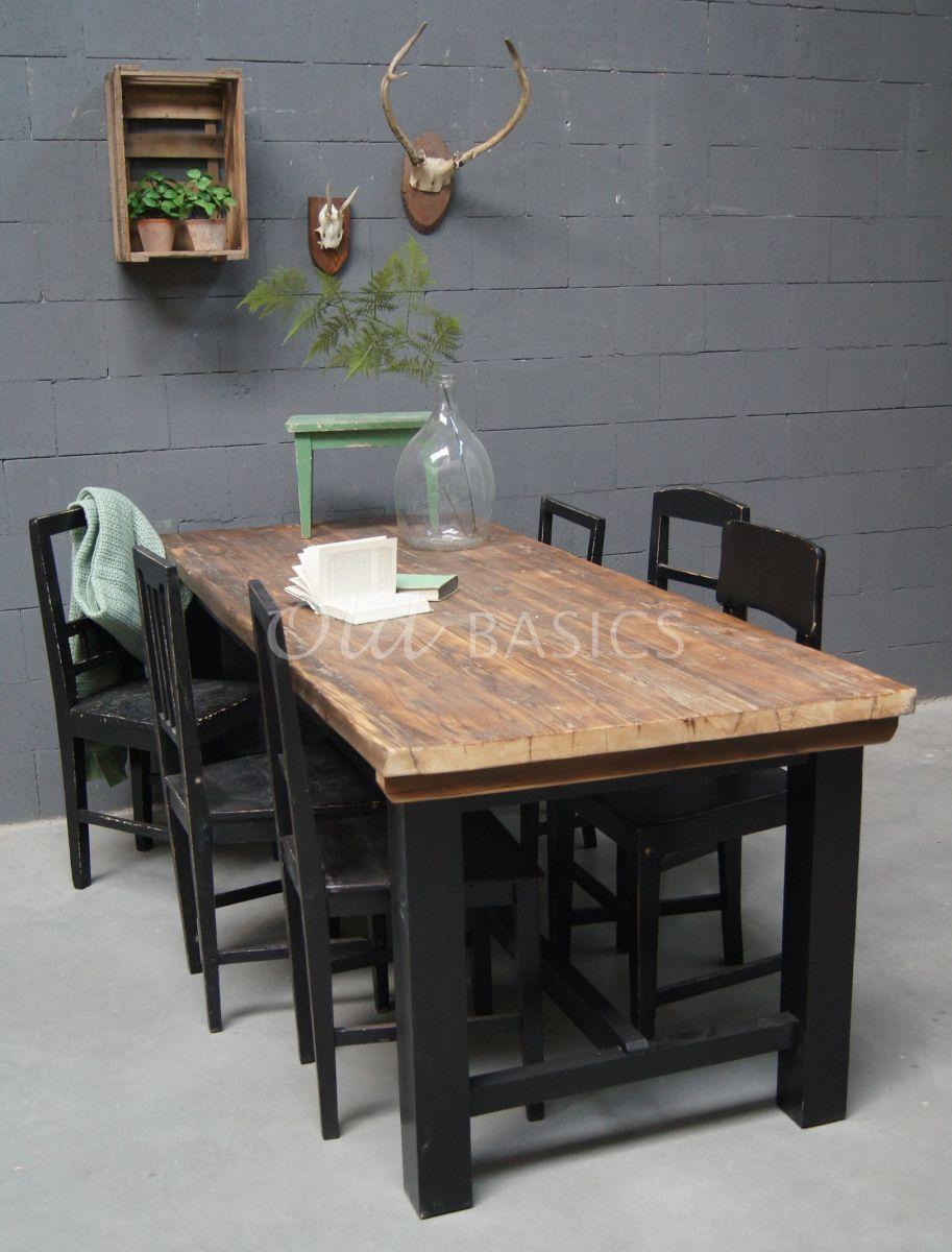 Eettafel Rustique, zwart, naturel, materiaal hout