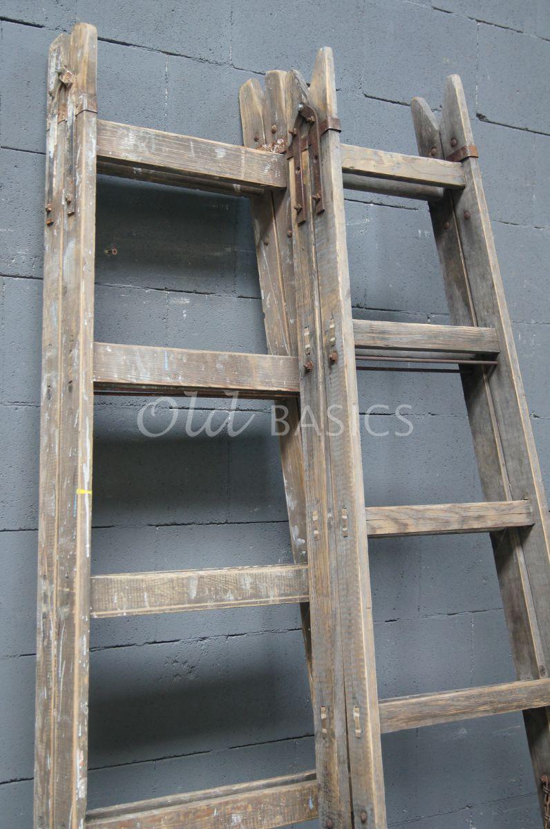 Houten ladder 4 1604 007 old basics for Trap hout wit
