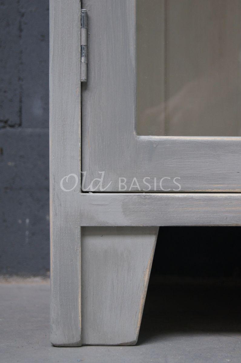Detail van Vitrinekast Tinca, grijs, materiaal hout