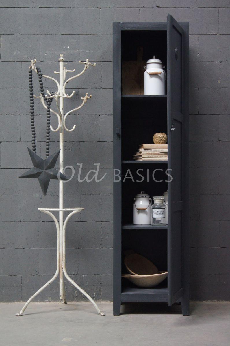 Detail van Lockerkast Isac  Donkergrijs, grijs, materiaal hout