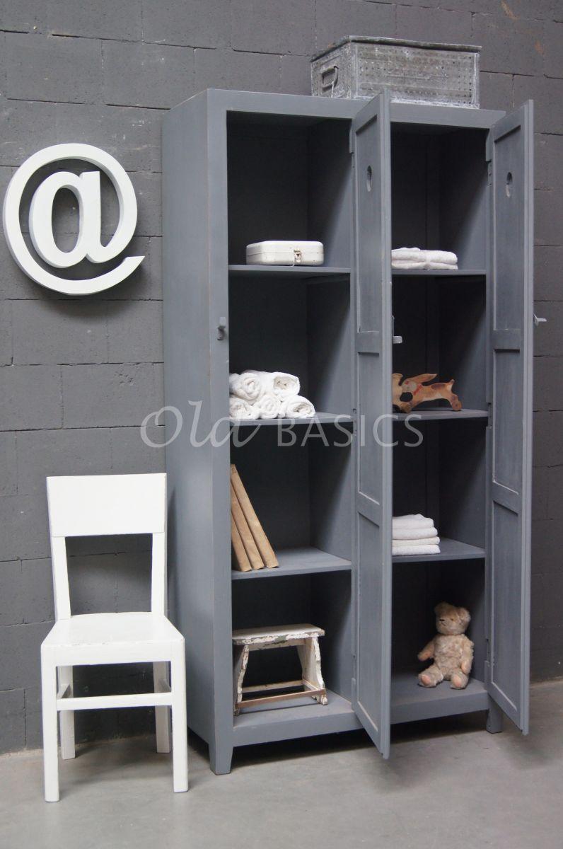 Detail van Lockerkast Ives  lichtgrijs, grijs, materiaal hout