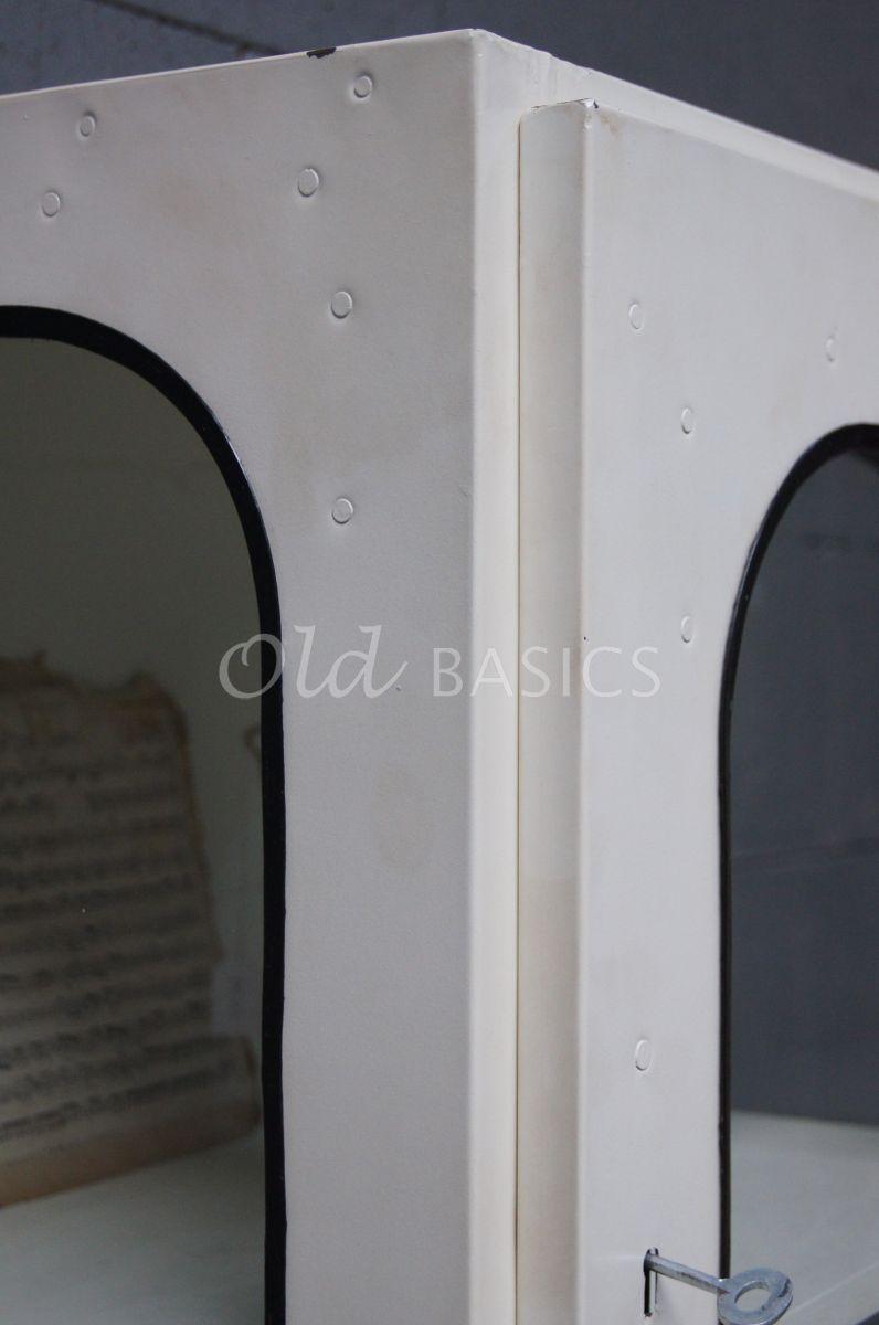 Detail van Hangkast, wit, crème, materiaal staal