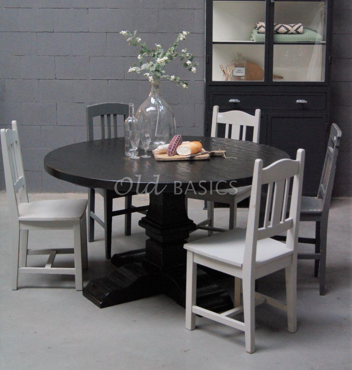 Kloostertafel rond, zwart, materiaal hout