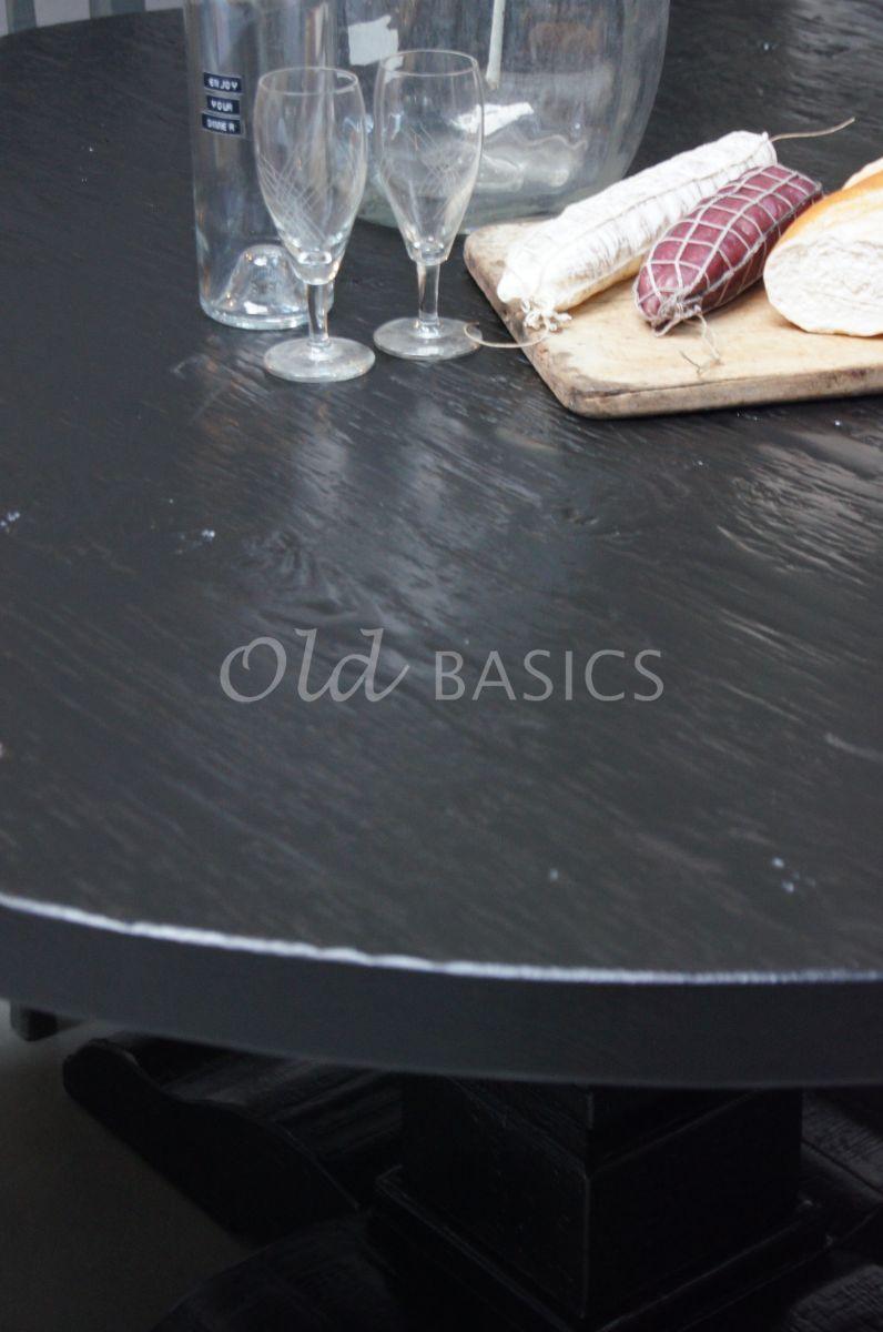 Detail van Kloostertafel rond, zwart, materiaal hout