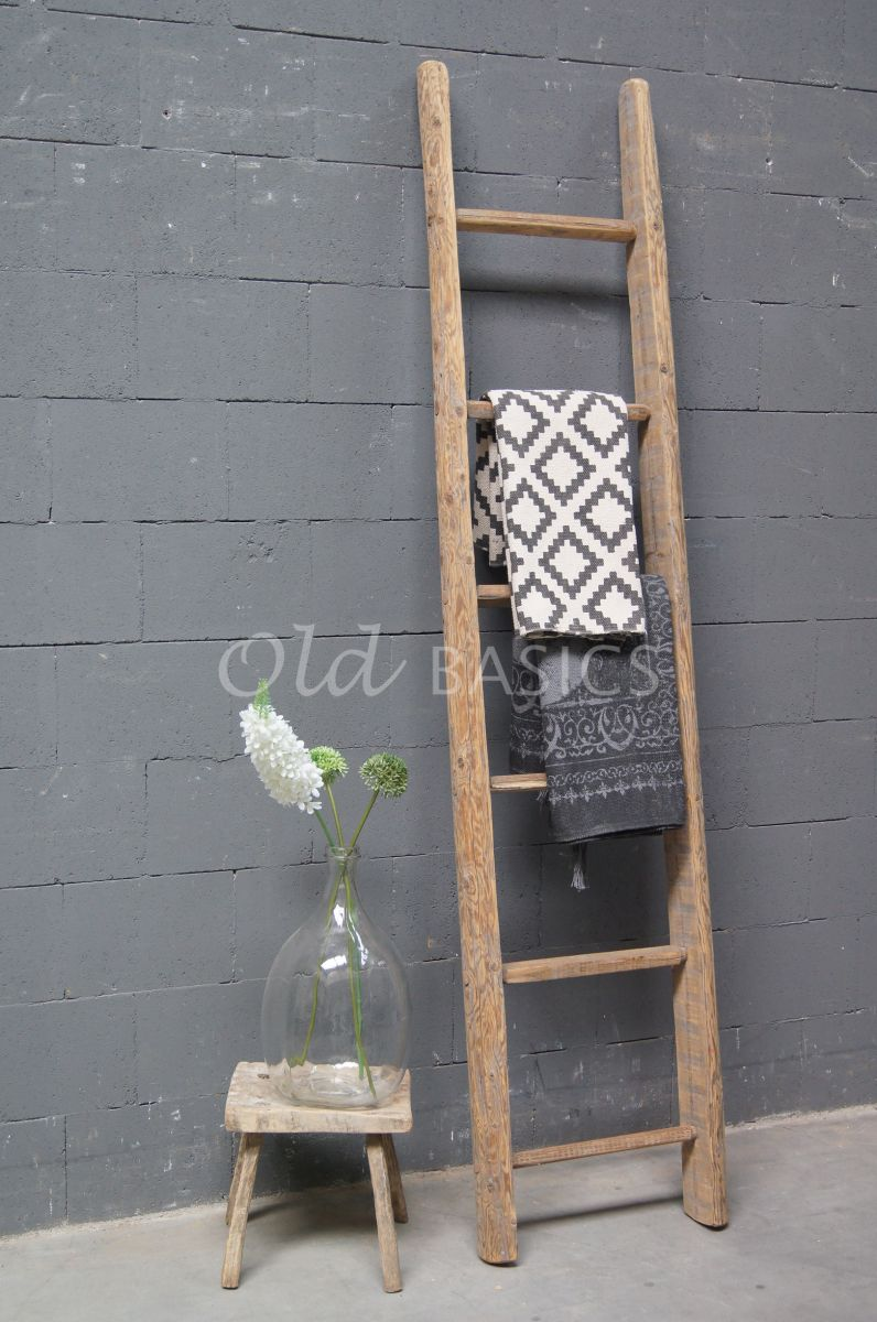 Houten ladder 4 1704 005 old basics - Decoratie houten trap ...
