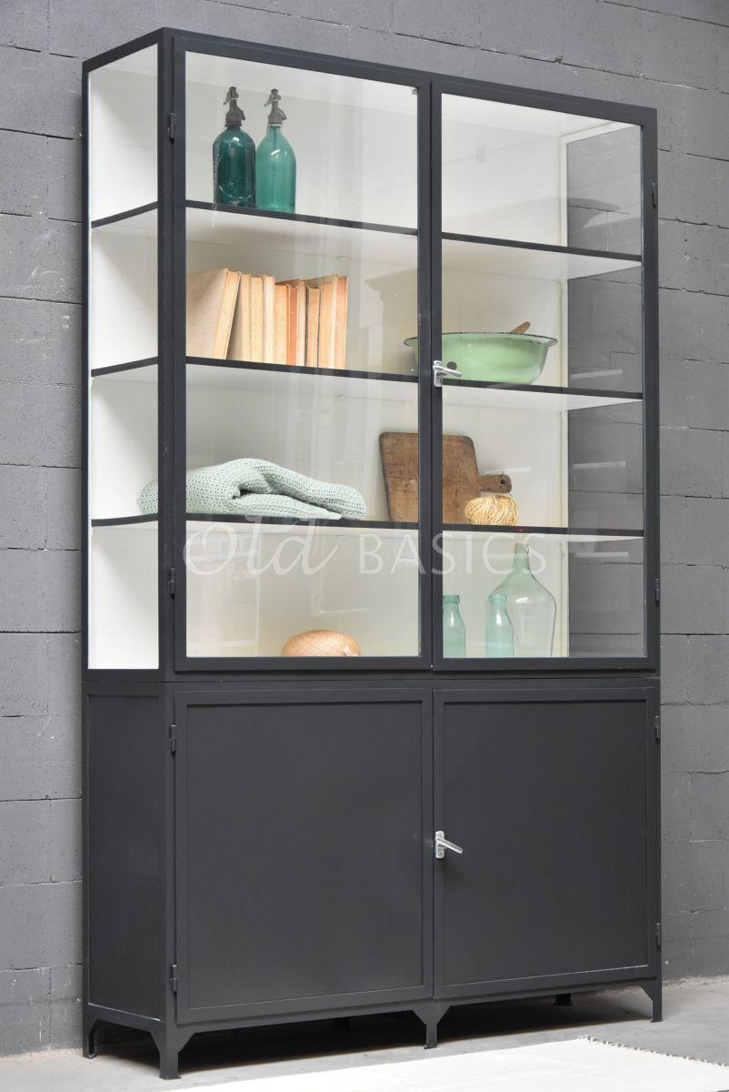 Apothekerskast Demi, 2 deuren, RAL7021, zwart, grijs, materiaal staal