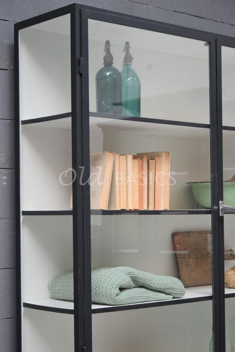 Detail van Apothekerskast Demi, 2 deuren, RAL7021, zwart, grijs, materiaal staal
