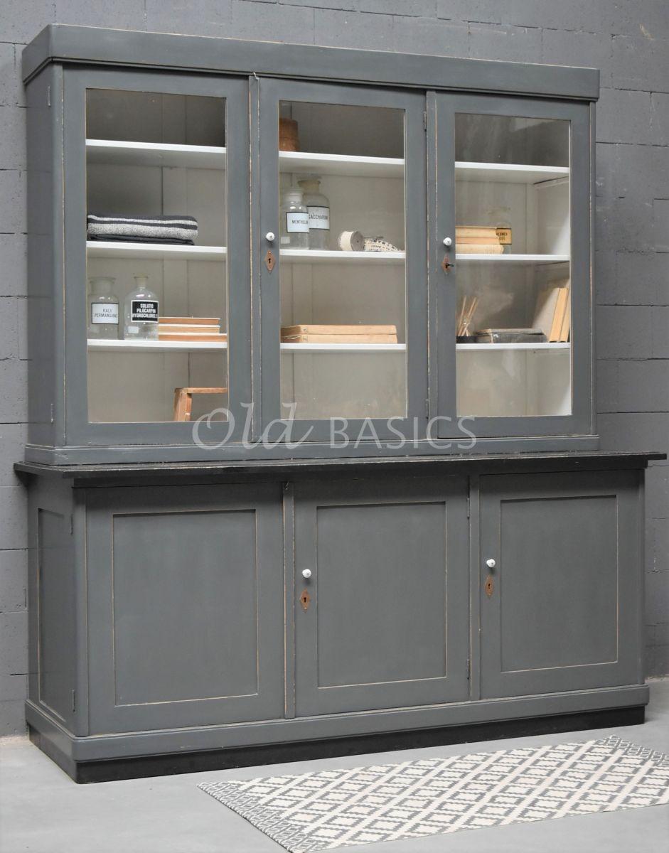 Buffetkast, grijs, zwart, materiaal hout