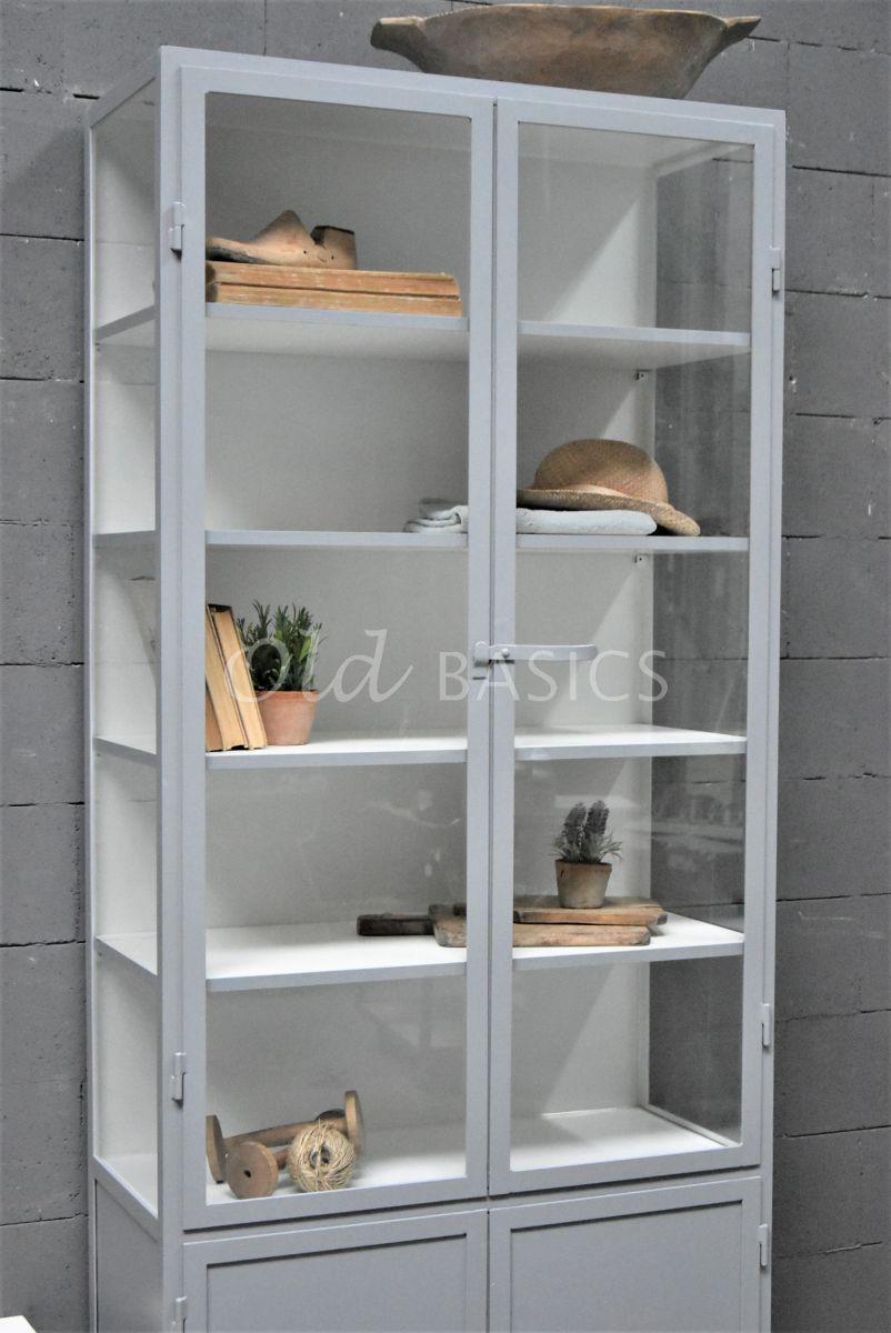 Detail van Apothekerskast Demi, 2 deuren, RAL7045, grijs, materiaal staal