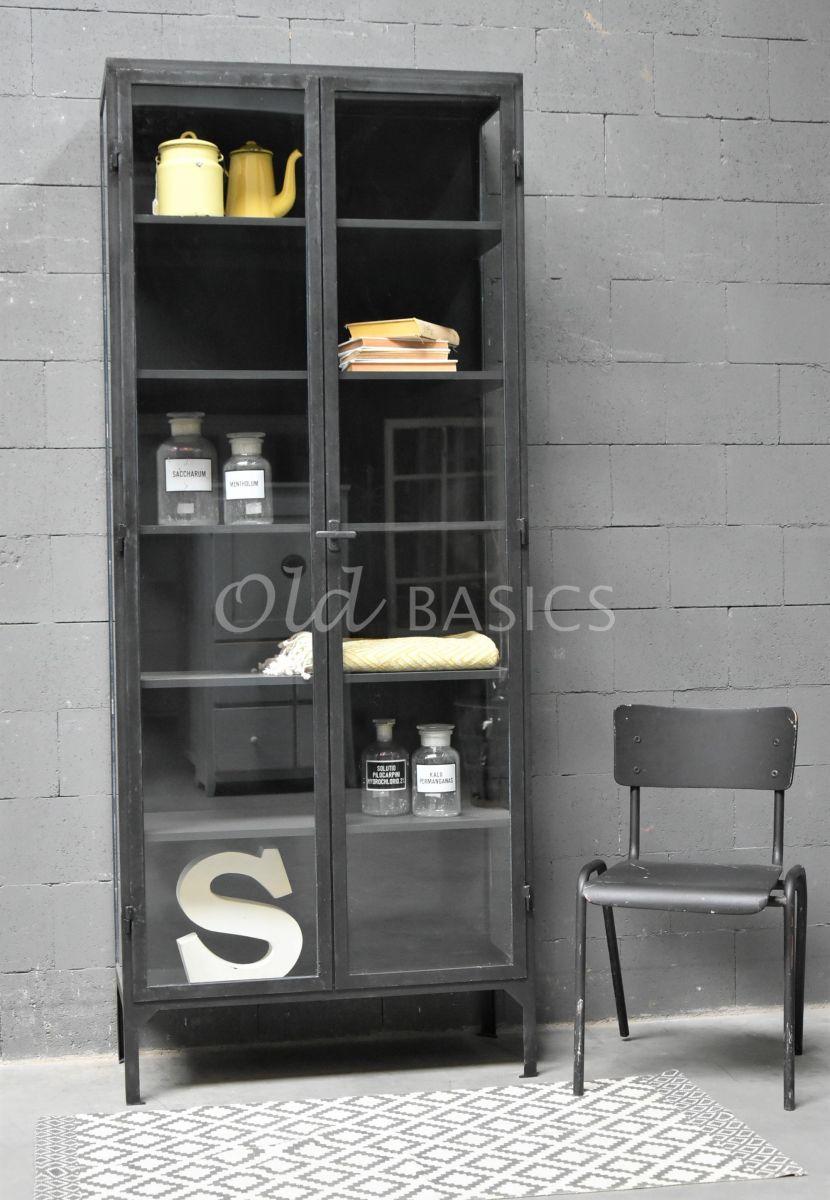 Apothekerskast Vitrine STEEL, 2 deuren, zwart, grijs, metaal, materiaal staal