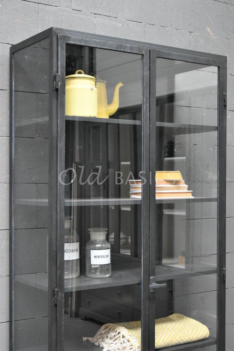 Detail van Apothekerskast Vitrine STEEL, 2 deuren, zwart, grijs, metaal, materiaal staal