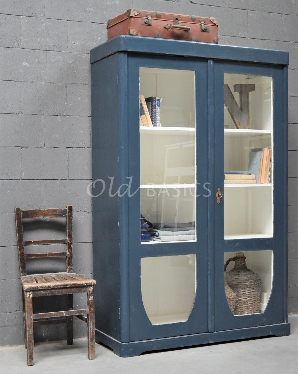 Vitrinekast, blauw, materiaal hout