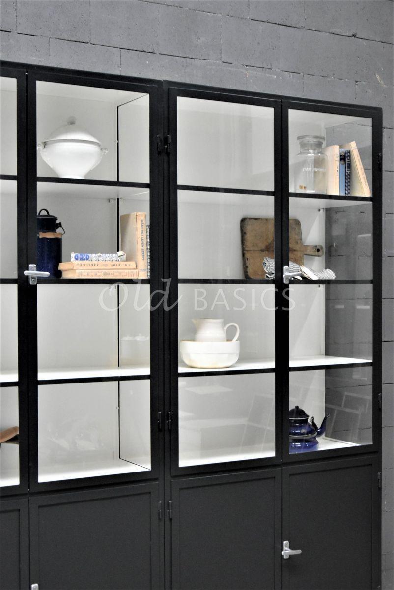 Detail van Apothekerskast Demi, 4 deuren, RAL7021, zwart, grijs, materiaal staal