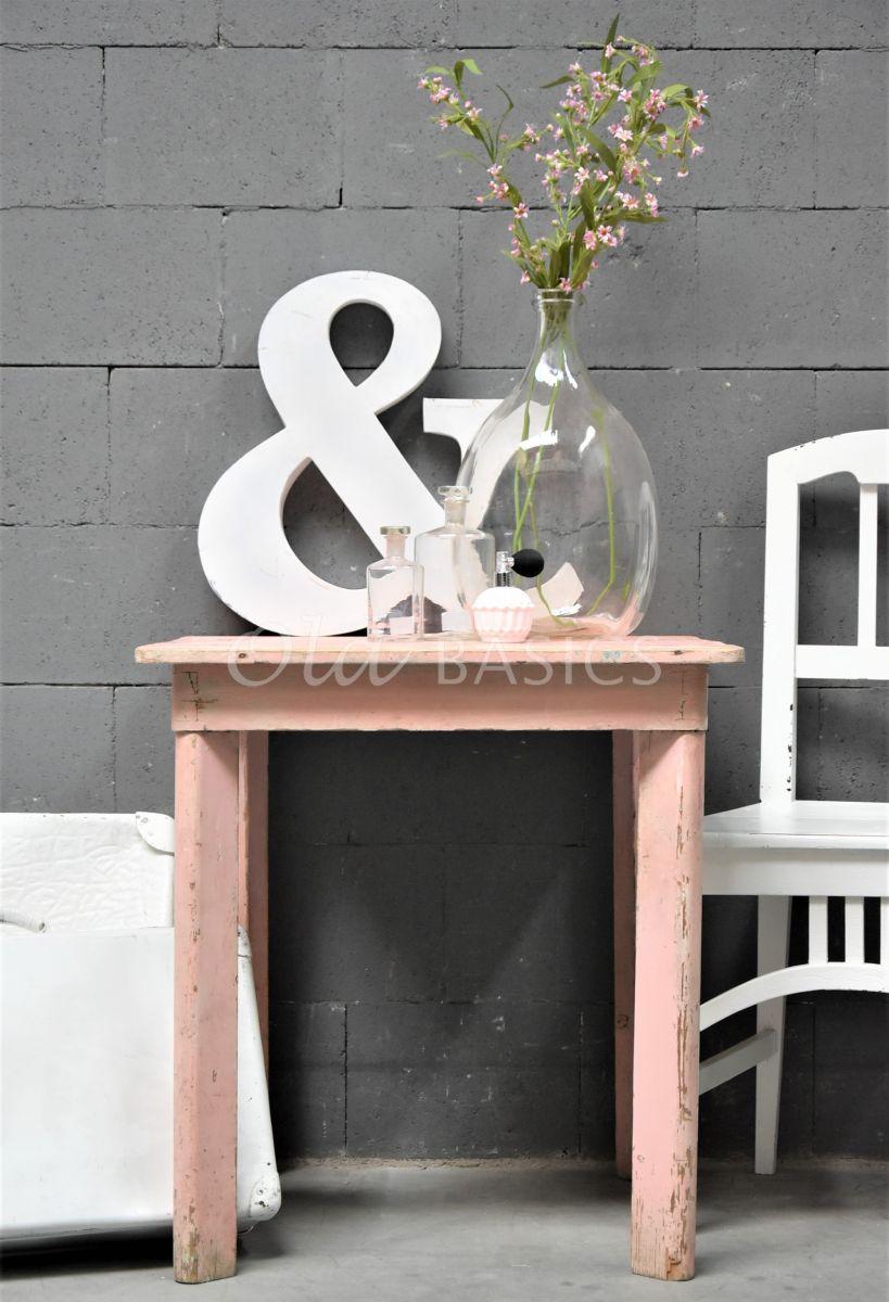 Detail van Bijzettafel, roze, materiaal hout