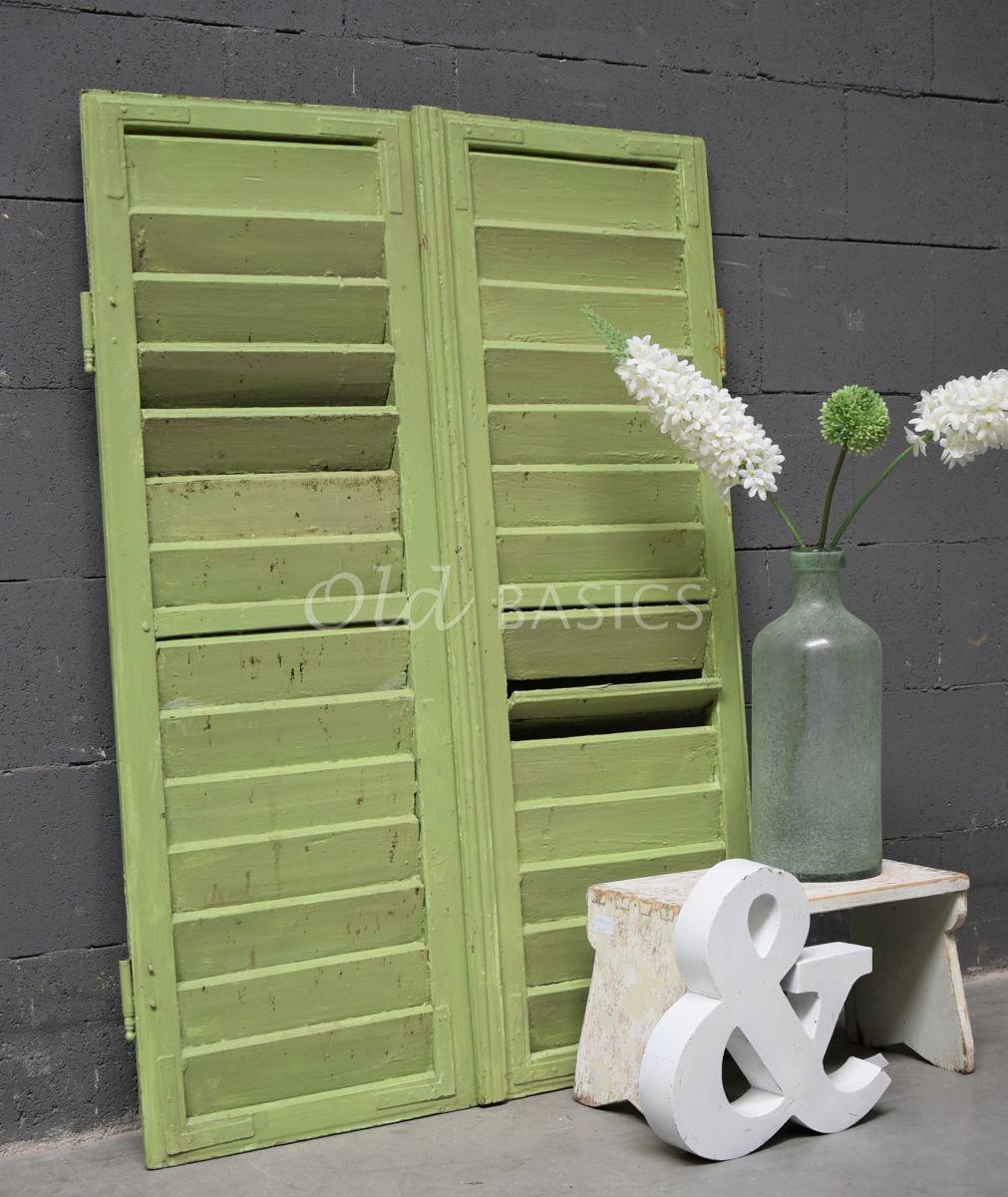 Set luiken, groen, materiaal hout