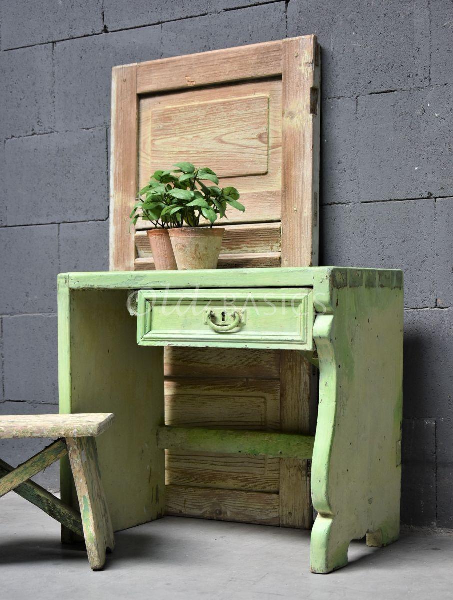 Bankje, groen, materiaal hout