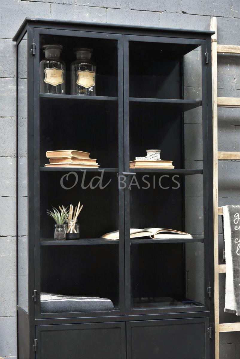 Detail van Apothekerskast Ivar Noir, zwart, materiaal staal
