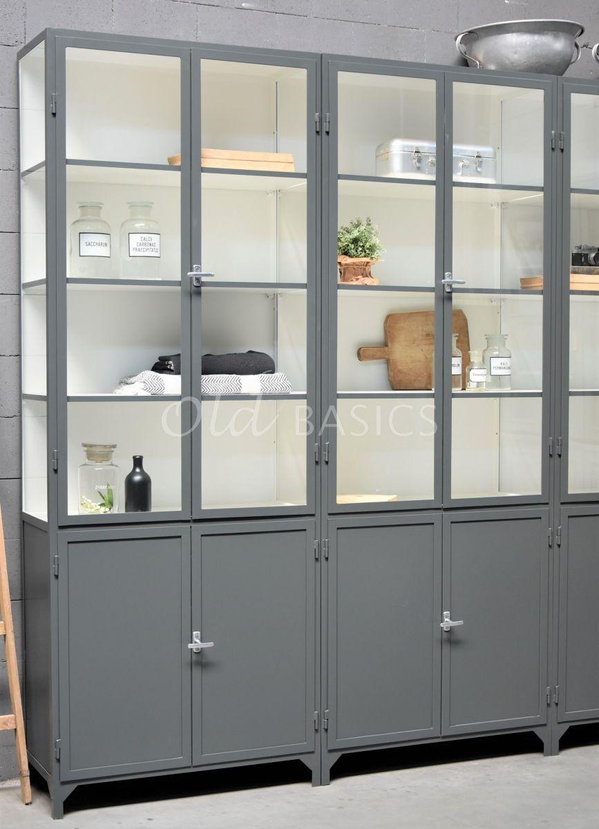 Detail van Apothekerskast Demi, 6 deuren, RAL7043, grijs, materiaal staal