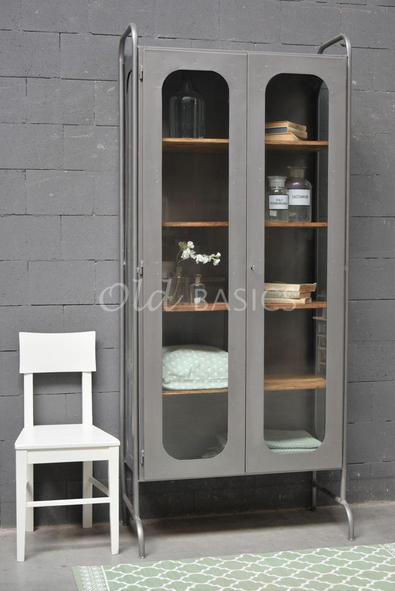 Apothekerskast Arrondir, grijs, materiaal staal
