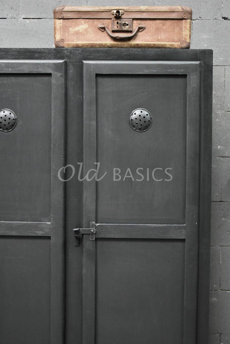 Detail van Lockerkast Ives  Zwartgrijs, zwart, grijs, materiaal hout