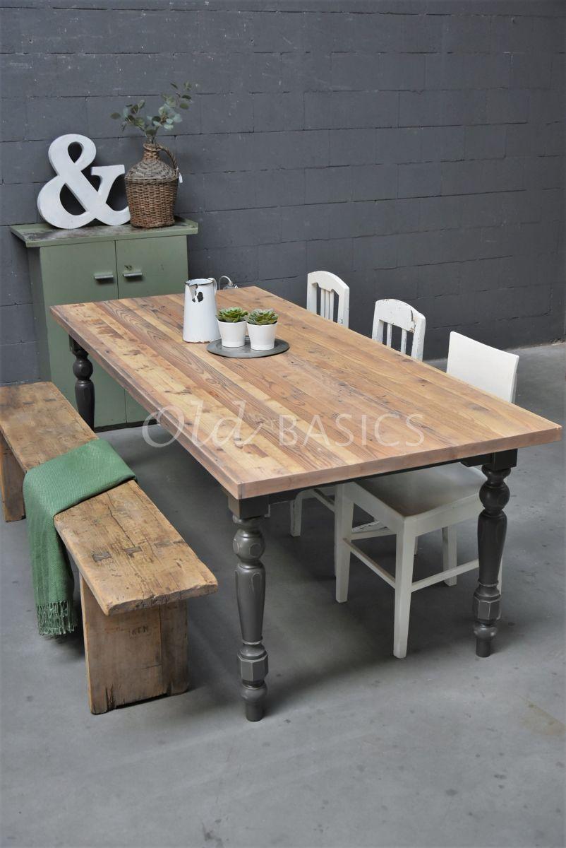 Detail van Eettafel Rustique, naturel, grijs, materiaal hout