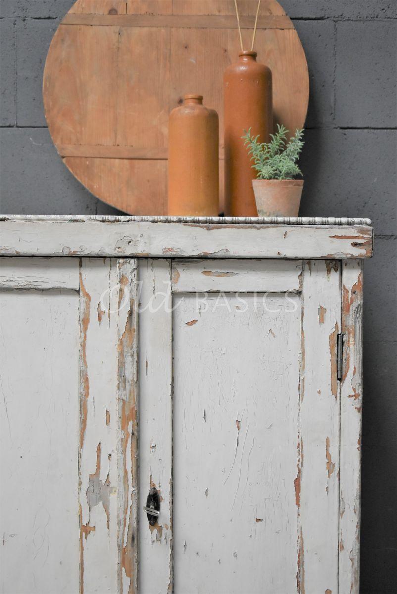 Detail van Lage kast, crème, materiaal hout