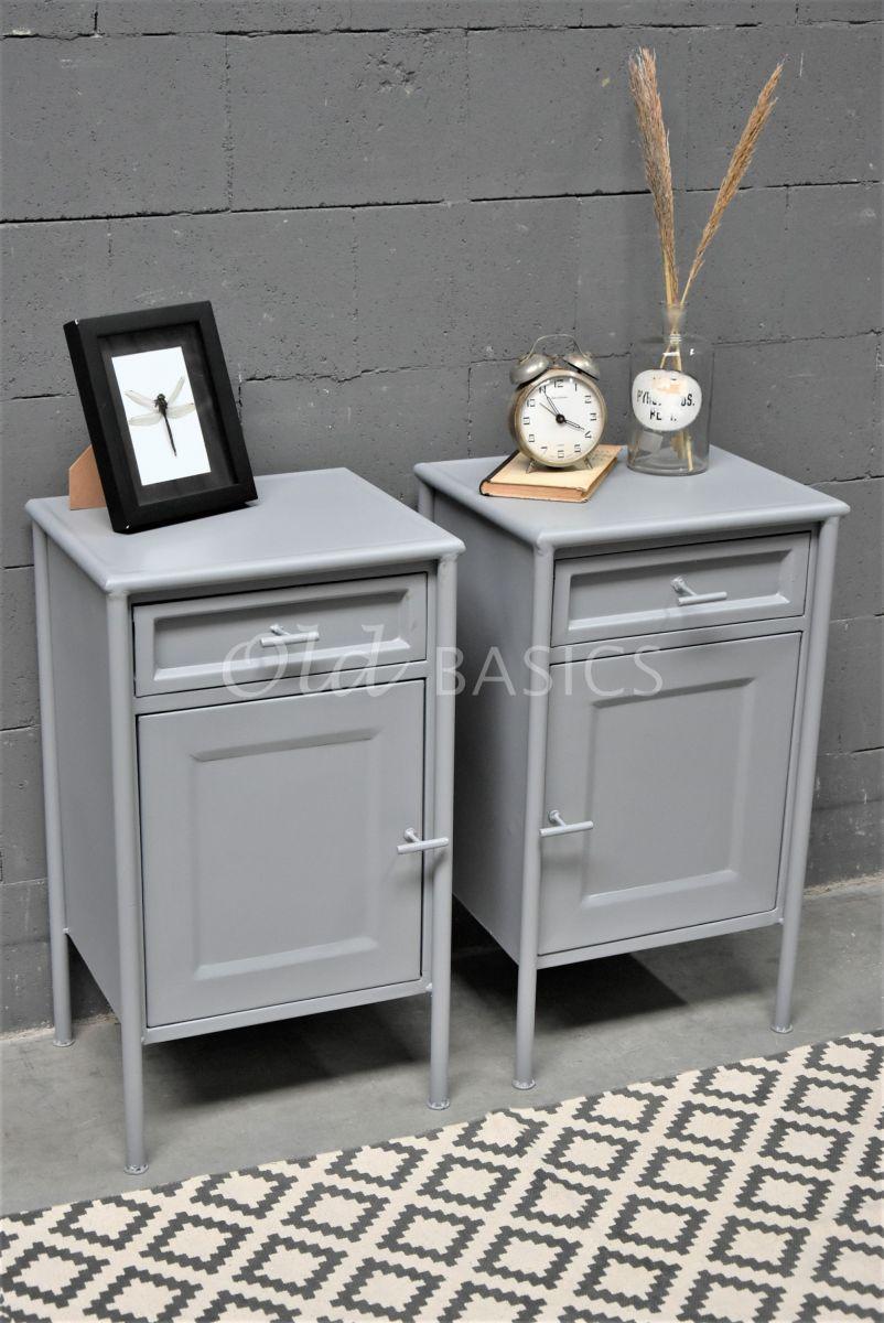 Set nachtkastjes DormirGrijs, grijs, materiaal staal