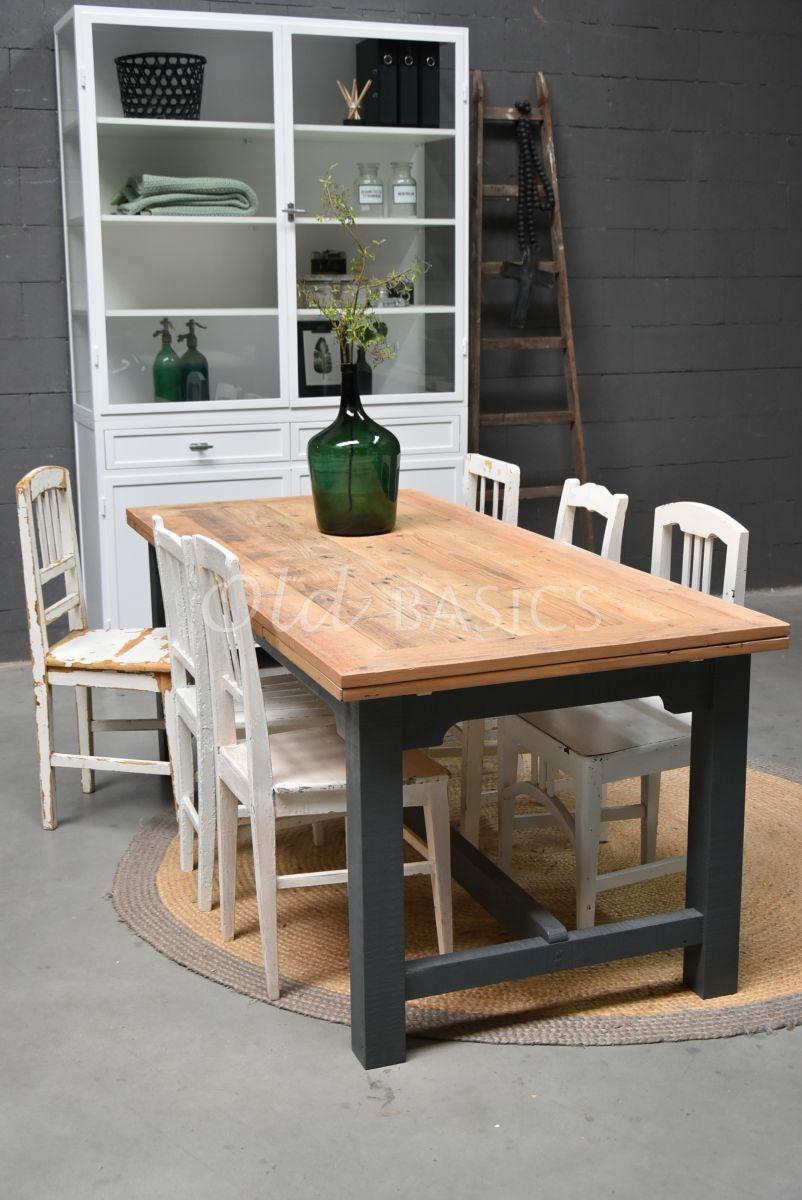 Eettafel Rustique (uitschuifbaar), grijs, materiaal hout