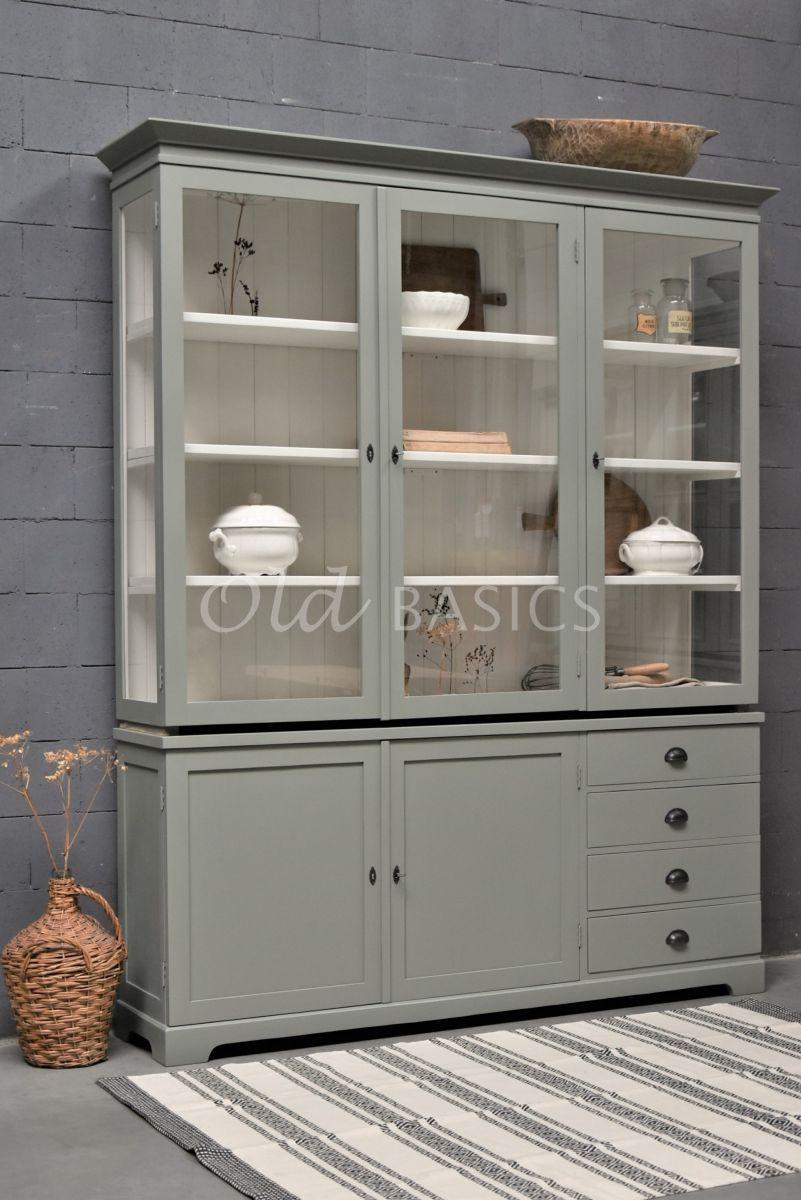 Vitrinekast Grenoble, 3 deuren, RAL7033, grijs, groen, materiaal hout