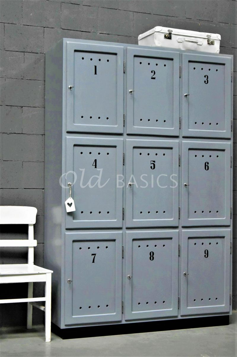 Lockerkast Numero, 3 deuren, RAL7000, grijs, blauw, materiaal hout