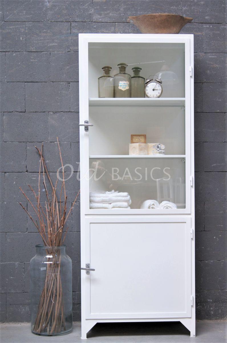 Detail van Apothekerskast Demi, 1 deuren, RAL9010, wit, materiaal staal