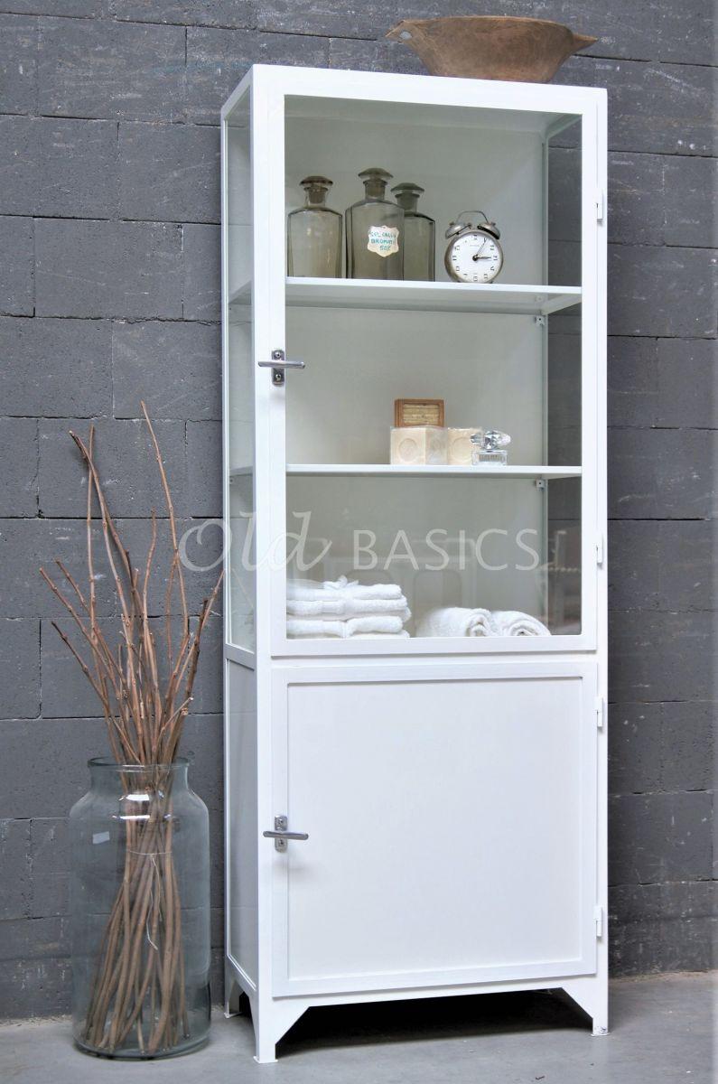 Apothekerskast Demi, 1 deuren, RAL9010, wit, materiaal staal