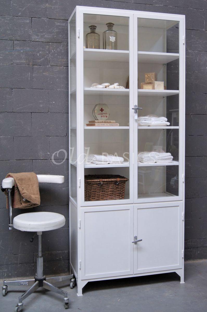 Apothekerskast Demi, 2 deuren, RAL9010, wit, materiaal staal