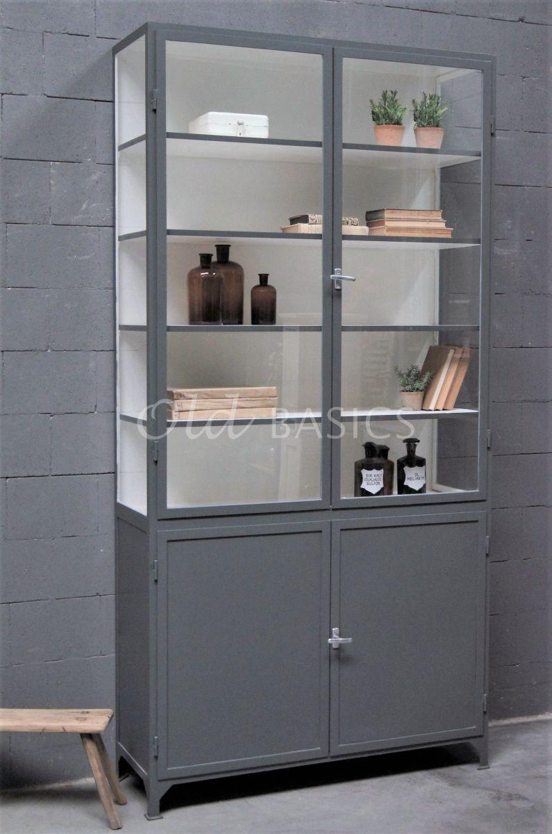 Apothekerskast Demi, 2 deuren, RAL7043, grijs, materiaal staal