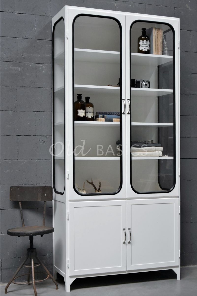 Apothekerskast Retrique, 2 deuren, RAL9010, wit, materiaal staal