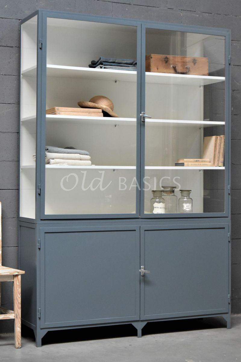 Apothekerskast Demi, 2 deuren, RAL7031, blauw, grijs, materiaal staal