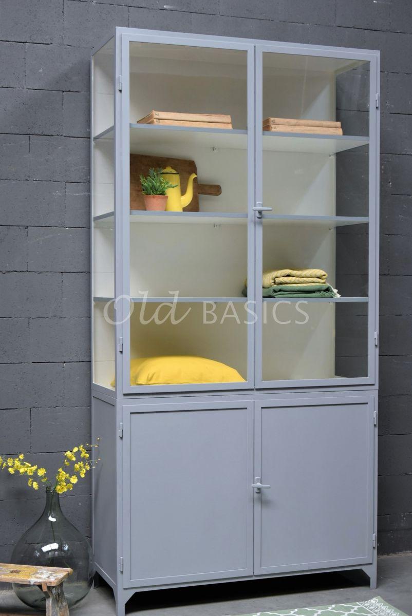 Apothekerskast Demi, 2 deuren, RAL7045, blauw, grijs, materiaal staal