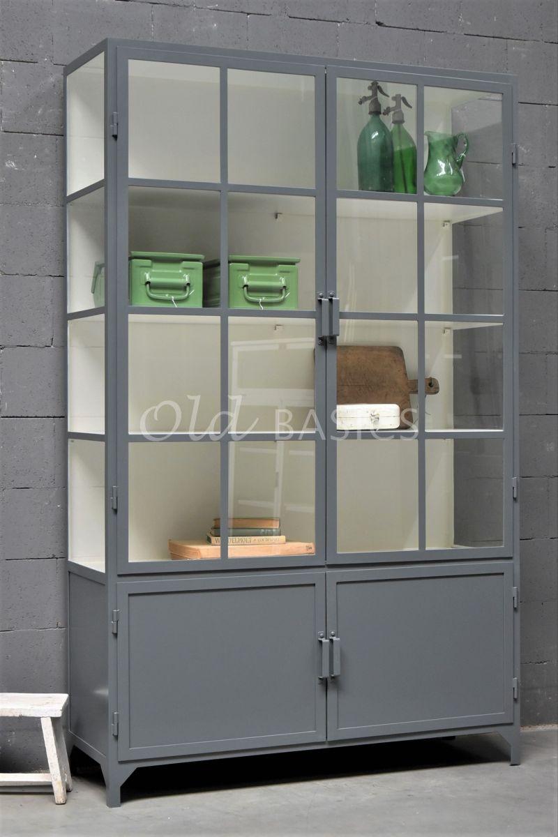 Apothekerskast Demi, 2 deuren, RAL7012, grijs, materiaal staal