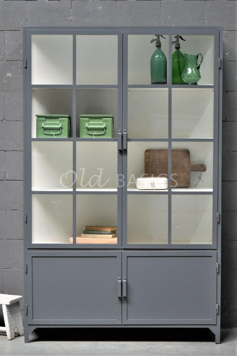 Detail van Apothekerskast Demi, 2 deuren, RAL7012, grijs, materiaal staal