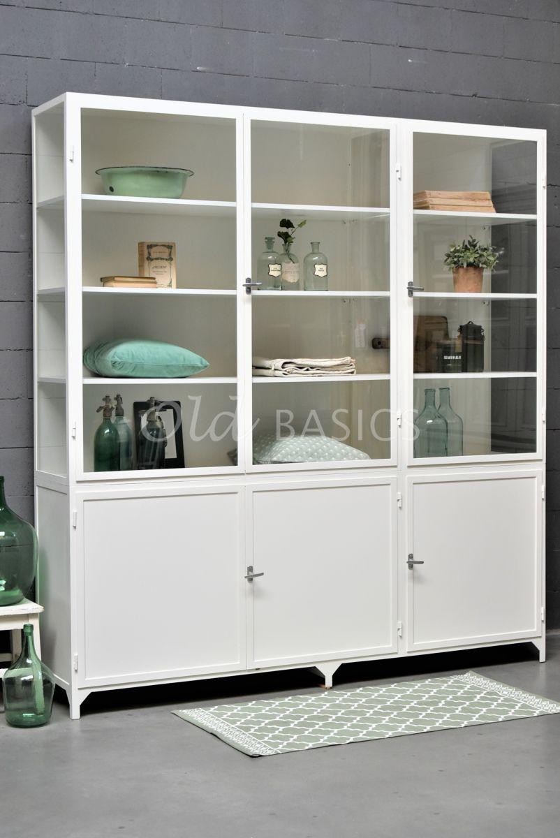 Apothekerskast Demi, 3 deuren, RAL9010, wit, materiaal staal